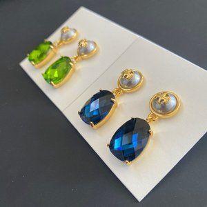 Tory Burch Elegant Pearl Logo Stud Earrings